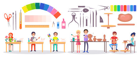 Set of stationery items, various instruments, art supplies and art school students isolated vector illustration on white. Young artists and their hobbies.