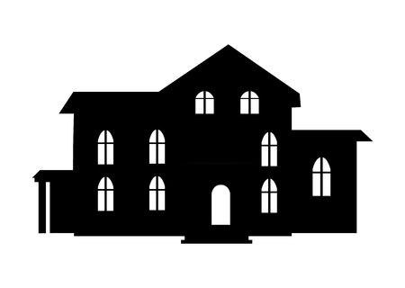 Black Building Icon Closeup on Vector Illustration
