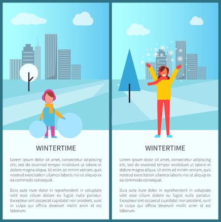 Winteraktivitäten in der Stadt Satz von zwei Plakaten mit Kind und Schneemann , die erwachsene Frau mit Schnee spielt . Vektor-Illustration mit glücklichen Paaren im Stadtpark Standard-Bild - 92416583