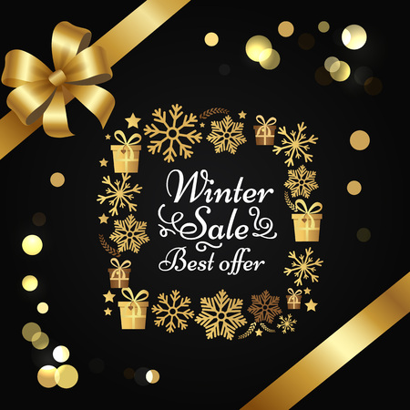 Winter sale best offer poster gift bow, decorative square frame made of golden snowflakes, presents boxes in xmas concept vector on black with splashes Çizim