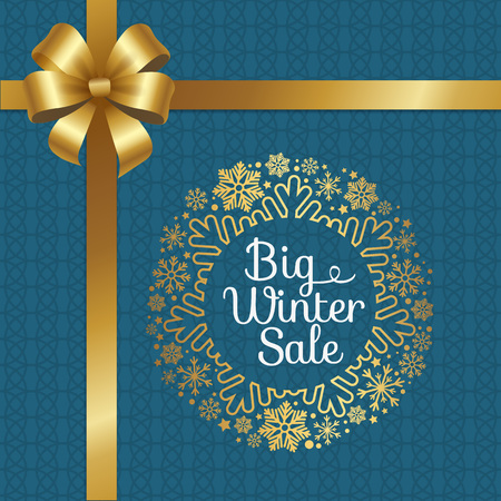 Big Winter Sale Poster with Gift Bow, Decor Frame.