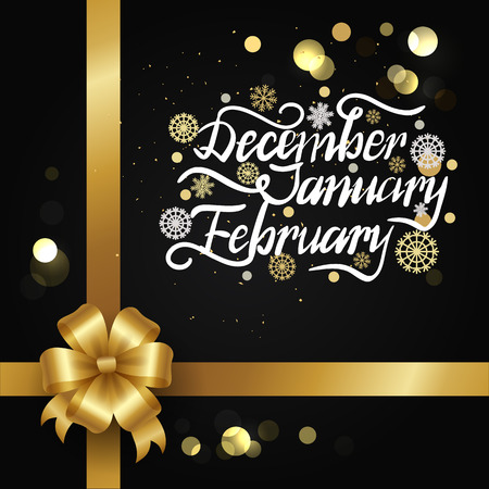 December January February Winter Month Inscription. Çizim