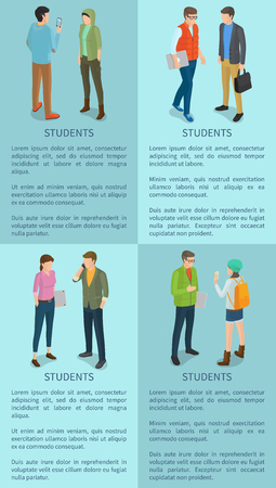 Students Isolated on Posters with Blue Background