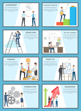 Set of Business Posters with Ambitious Employees