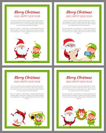 Cartazes de Natal feliz, ilustração vetorial Ilustración de vector