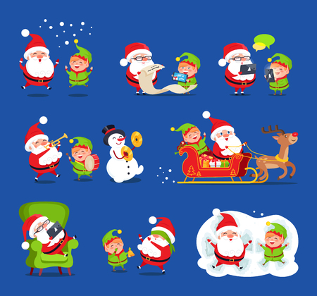 Santa and elf collection, Claus and little boy happy because of snow, reading wishlists, singing and laughing together, reindeer vector illustration
