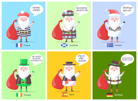 France and Scotland, Iceland and Ireland, set of Santa Clauses visual representations, translation of happy New Year and flags vector illustration