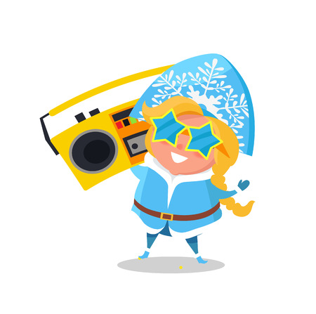 Snow Maiden with record player in festive star-shaped sunglasses isolated on white background. Vector illustration with beautiful happy girl dancing