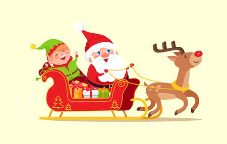 Sankt- und Elfenzeichentrickfilm-figuren, die voll auf Schlitten der Geschenkboxen auf den Tiervektorillustrations-Zeichentrickfilm-Figuren des Rens lokalisiert auf Weiß reiten Standard-Bild - 92418564