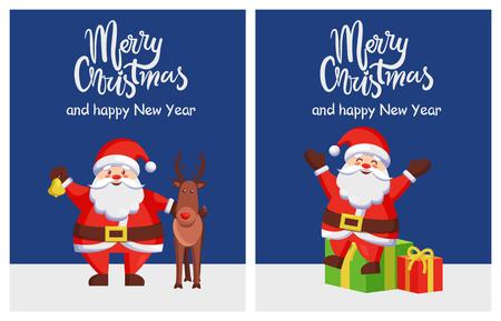 메리 크리스마스와 행복 한 새 해 어두운 파란색 배경에 산타와 사슴 포스터입니다. 벡터 일러스트 레이 션 행복 산타 클로스와 순 록 선물 일러스트