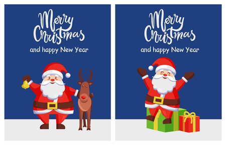 Merry Christmas and happy New Year Santa and deer poster on dark blue background. Vector illustration with happy Santy Claus and reindeer with presents