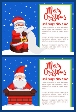 Merry Christmas and Happy New Year poster with Santa Claus in chimney and reading wish list vector illustration.