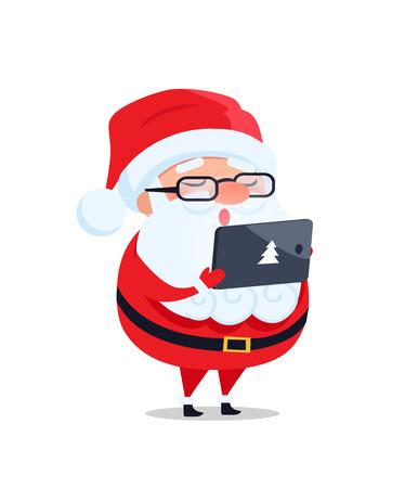 Papai Noel nos vidros com tabuleta digital lê a lista de objetivos pretendidos e toma o cartão do vetor das ordens isolado no branco. Personagem de desenho animado do pai Natal