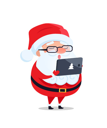 Santa Claus in glasses with digital tablet reads wish list and takes orders vector postcard isolated on white. Father Christmas cartoon character
