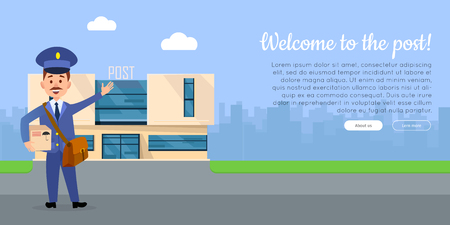 Welcome to the post cartoon web banner. Postman in uniform with mailbag holding parcel with post office on background flat vector illustration. Horizontal concept for mail or post company landing page Vettoriali