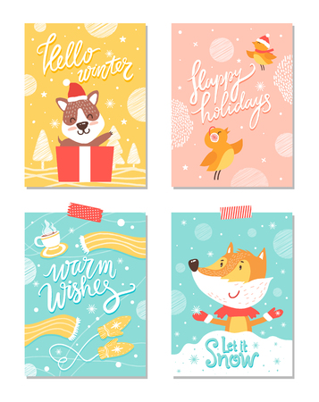 Warm wishes, merry Christmas, happy holidays and let it snow, posters with puppy, fox wearing gloves, flying birds, cup and scarf vector illustration