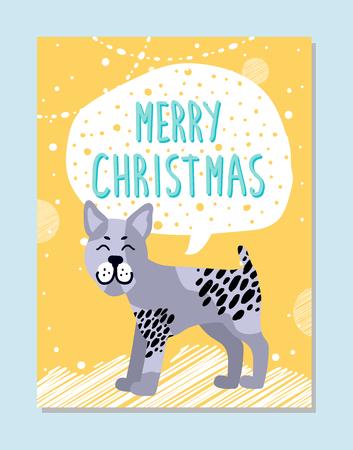 Frohe Weihnachten Poster mit Zeichen in der Wolke und Bullterrier mit traurigem Gesichtsausdruck . Rassehund Dessert . Auf Urlaub Banner Vektor-Illustration Standard-Bild - 92421232