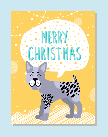 Merry Christmas poster with sign in cloud and bullterrier with nice facial expression. Pedigree domestic dog on holiday banner vector illustration.