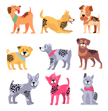 Pedigree dogs with unusual bright spotted fur as Chinese symbols of 2018 year isolated cartoon vector illustrations set on white background.