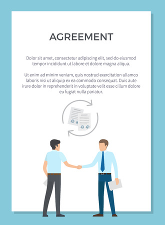 Agreement demonstration with two businesspeople shaking hands after setting deal. Vector illustration of two men with documents on white background