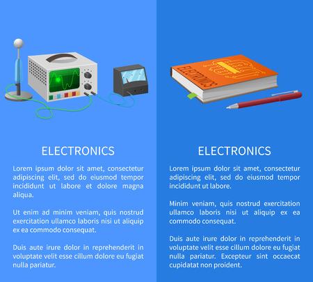 Elektronica banner met plaats voor tekst op blauw met leerboek, balpen en verschillende elektriciteit gerelateerde apparaten voor het meten van signalen