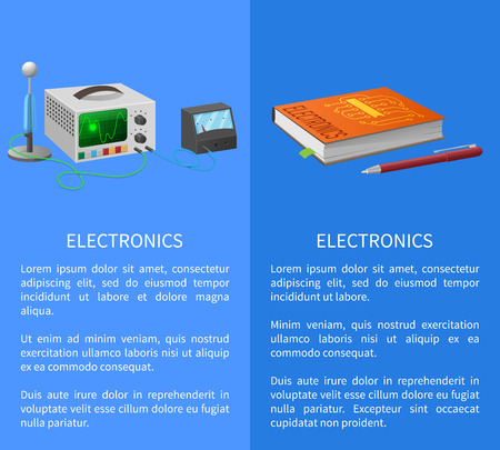 Electronics banner with place for text on blue with textbook, ballpoint pen and various electricity related devices for measuring signals Illustration