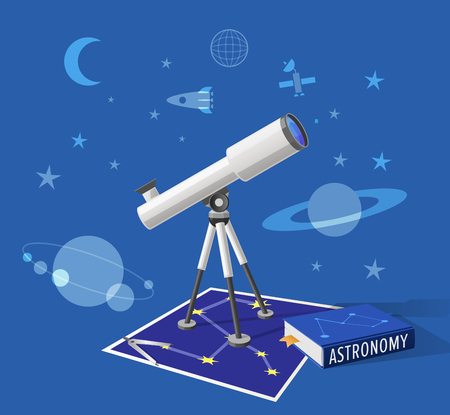 Astronomy class isolated vector illustration on blue sky-like background. Cartoon style telescope, pair of compasses and school textbook on constellation map