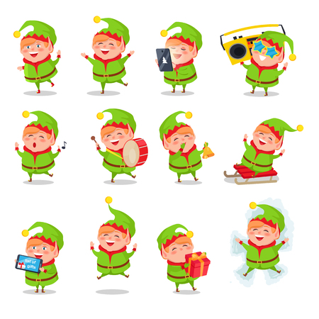 Elf collection of activities, character dressed in green costume playing games, helping and listening to music, having fun vector illustration Ilustração
