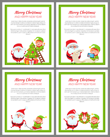 Merry Christmas and happy New Year, poster with helper of Santa Claus decorating tree with balls, helping with list of gifts vector illustration