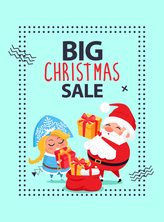 Big Christmas Sale banner with Santa Claus and Snow Maiden putting New year preset into red sack with gift boxes wrapped in color paper vector poster. Illustration