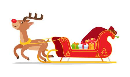 Renifery i świąteczne sanie z prezentami wektor na białym tle. Czerwone sanie Świętego Mikołaja z ozdobą choinkową, pełne pudełek na prezenty w stylu kreskówek