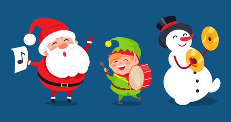 Santa with Music Sign, Elf Playing on Drum Snowman