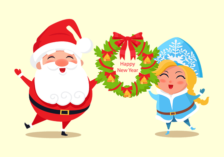 Happy New Year and wreath as frame with headline, bell and ribbons, Santa Claus and Snow Maiden smiling and standing isolated on vector illustration. Illustration