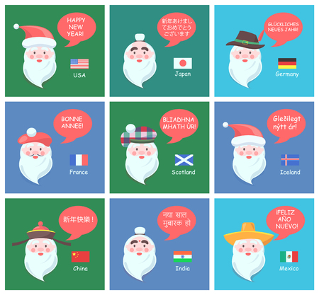 Funny Santa Clauses of different nationalities wish Happy New Year in native languages cartoon flat vector illustrations set on festive posters.
