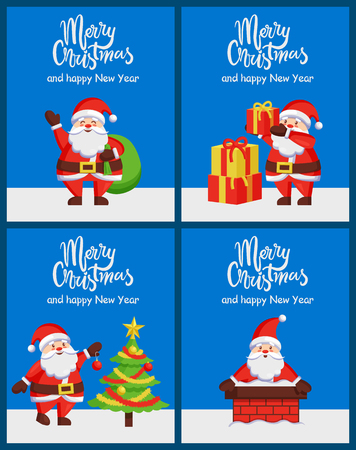 Merry Christmas Happy New Year Santa Claus Banners