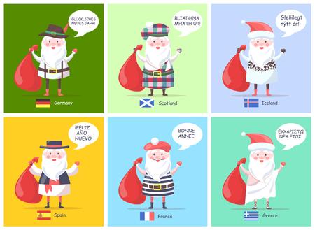 Germany Spain Santa Clauses Vector Illustration Illustration