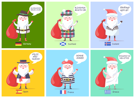 Germany Spain Santa Clauses Vector Illustration Çizim