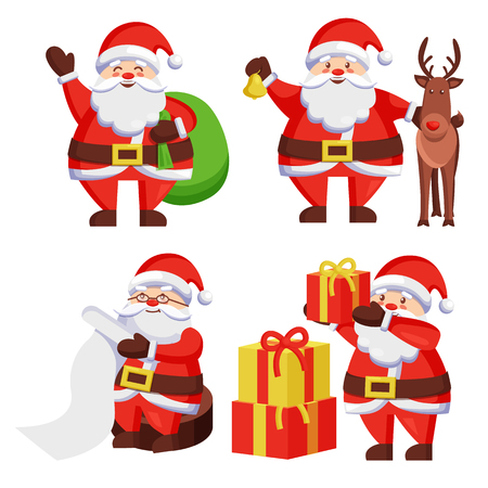 Santa Claus with presents icon isolated on white background. Vector illustration with happy man with colorful gift boxes in bag checking his list.