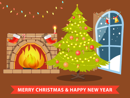 Merry Christmas and happy New Year room decorated with garlands, balls and bells, symbolic evergreen tree and fireplace, vector illustration Illustration
