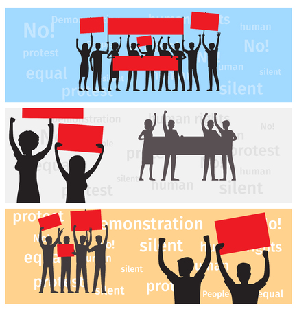 Three horizontal banners with silhouettes of strike people holding red and gray placards on demonstration vector illustration