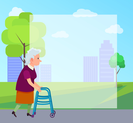 Senior gray-haired woman moving with help of front-wheeled walker in city park with place for text vector illustration. Metal tool designed to assist walking.