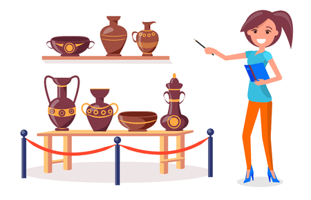 Woman guide points on ancient Greek pottery on wooden shelf and short table fenced off by metal railing stand with red rope isolated vector. 일러스트