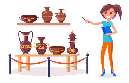Points de guide de la femme sur la poterie grecque ancienne sur une étagère en bois et une table courte clôturée par un support de balustrade en métal avec vecteur isolé corde rouge. Banque d'images - 92423433