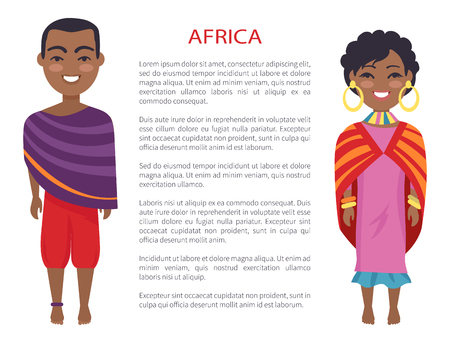 Africa people that represent customs and traditions of their homeland, man and woman on vector international day poster with text, native africans