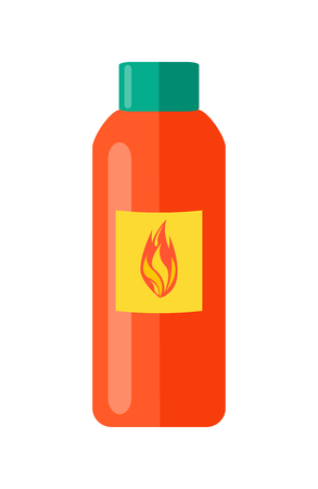 Liquid to fire in red bottle with yellow rectangle and flame icon on it along with blue-green lid isolated vector illustration on white background