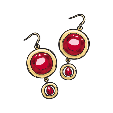 Luxurious gold earrings with natural ruby stone isolated on background. Gorgeous accessory for evening dress. Expensive women jewelry vector illustration. Vintage eardrops for night out. Иллюстрация