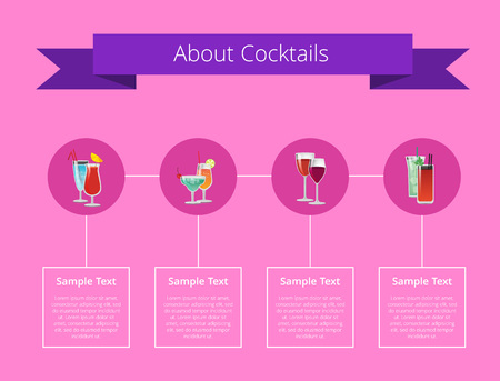About cocktails poster with alcohol beverages in round circles and sample text for list of ingredients below each drink vector illustration on pink. Ilustração