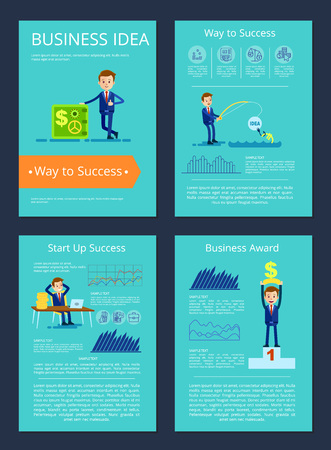 Business idea and award, businessman fishing currency, sitting by computer, holding prize and standing by strongbox on vector illustration. Illustration