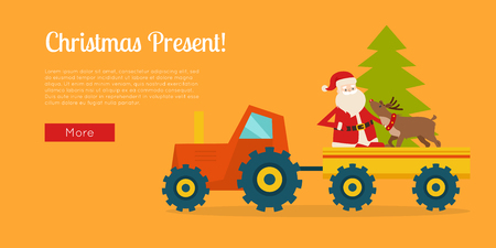 Christmas present banner with Santa Claus on tractor. Reindeer and New Year tree in trailer.