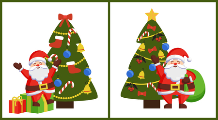Happy Santa sitting on gift boxes and standing with bag near decorated Xmas tree vector posters with Christmas Father and winter holiday symbols